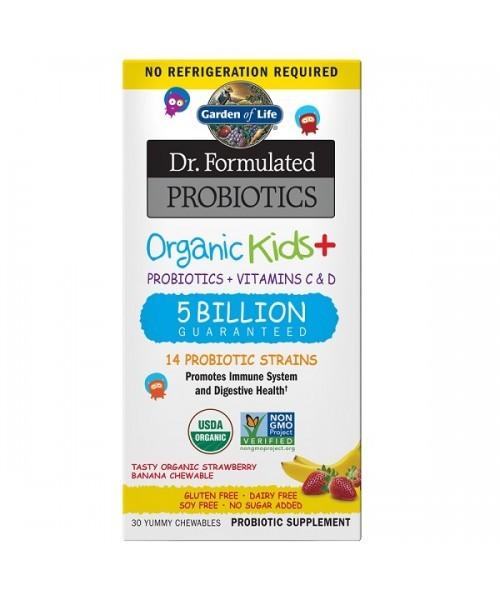 Organická probiotika pro děti - jahoda a banán, 30 žvýkacích tablet