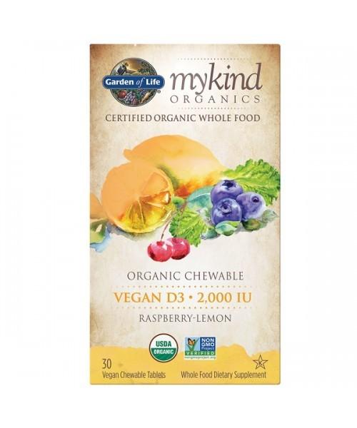 Mykind Organics Chewable Vegan D3 - s příchutí maliny a citrónu
